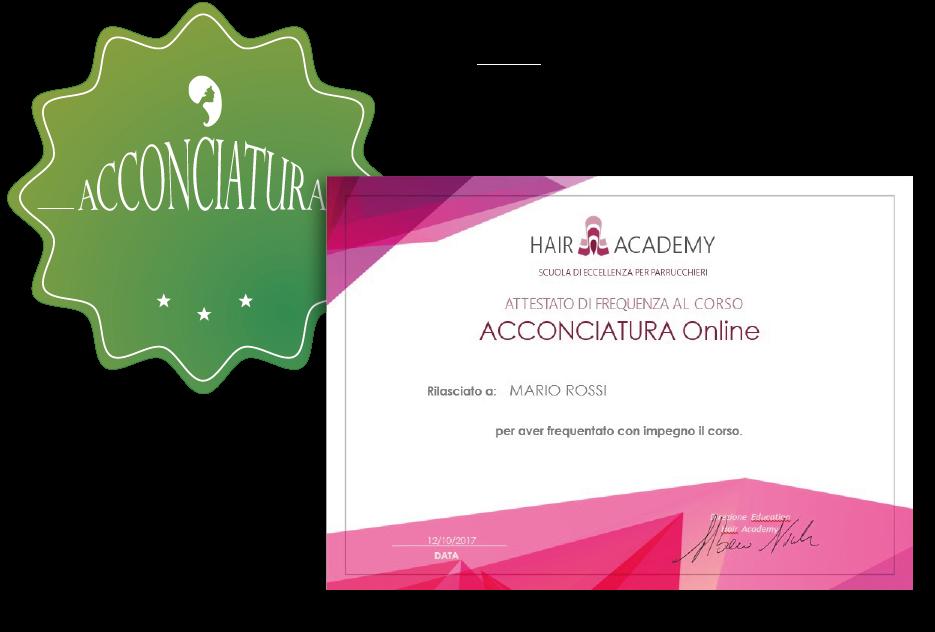 attestato di frequenza corso online acconciatura hair academy