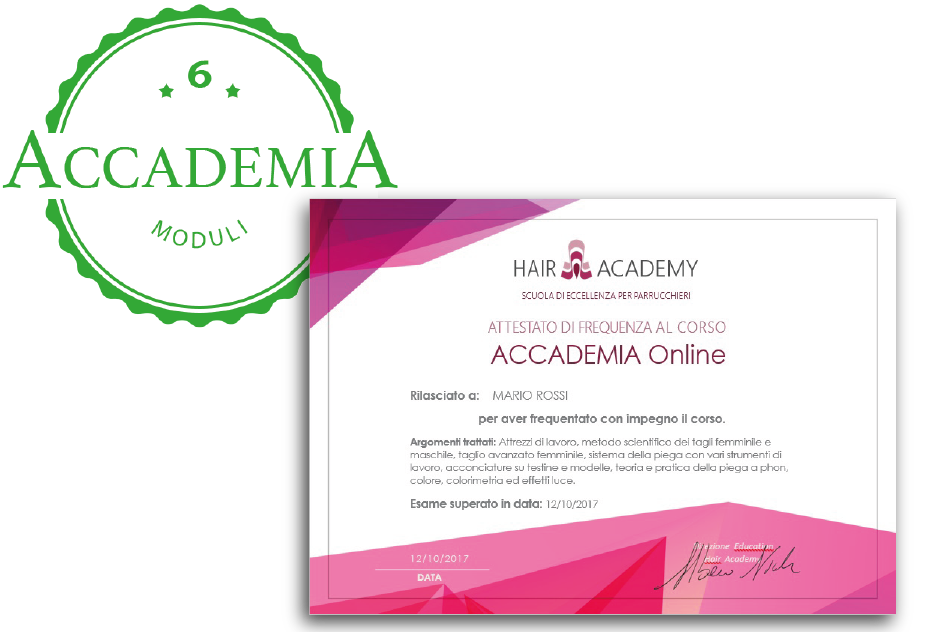 attestato di frequenza accademia online hair academy