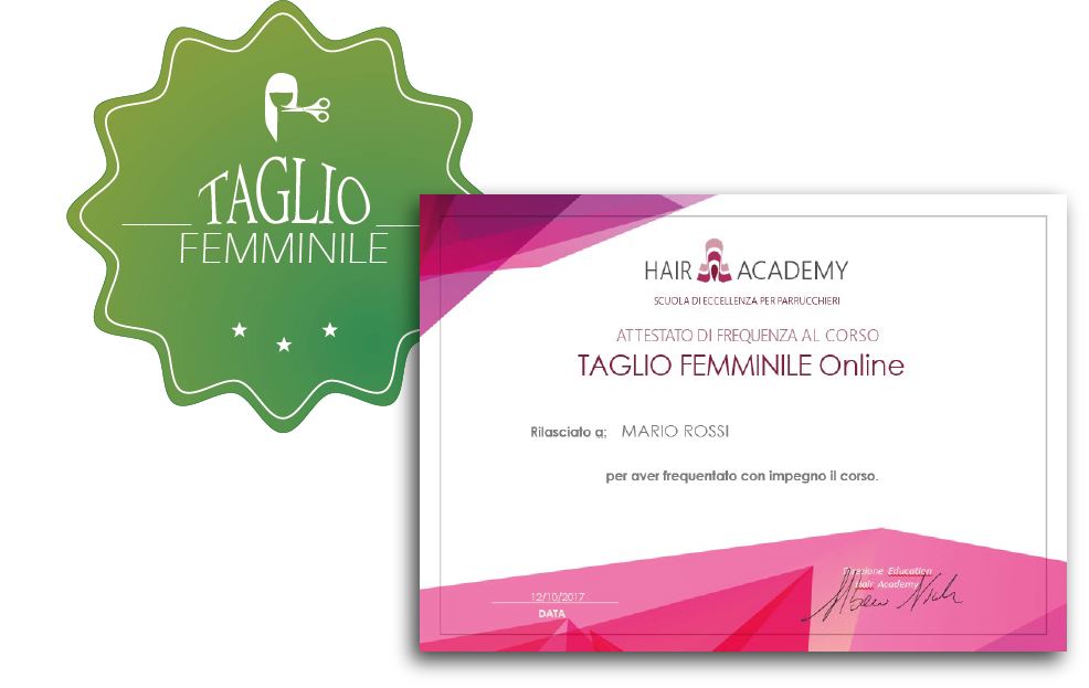 attestato di frequenza corso online di taglio femminile hair academy