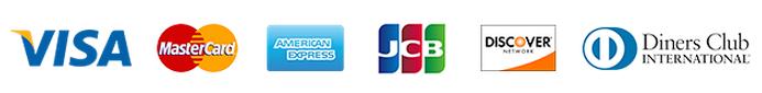 Visa, Mastercard, American Express, JCB, Discover, Diners Club
