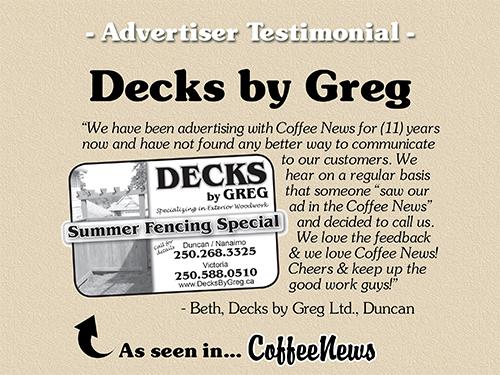 Decks by Greg testimonial in Coffee News