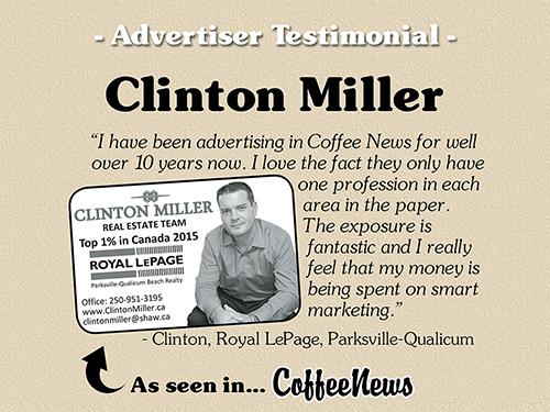 Clinton Miller testimonial in Coffee News