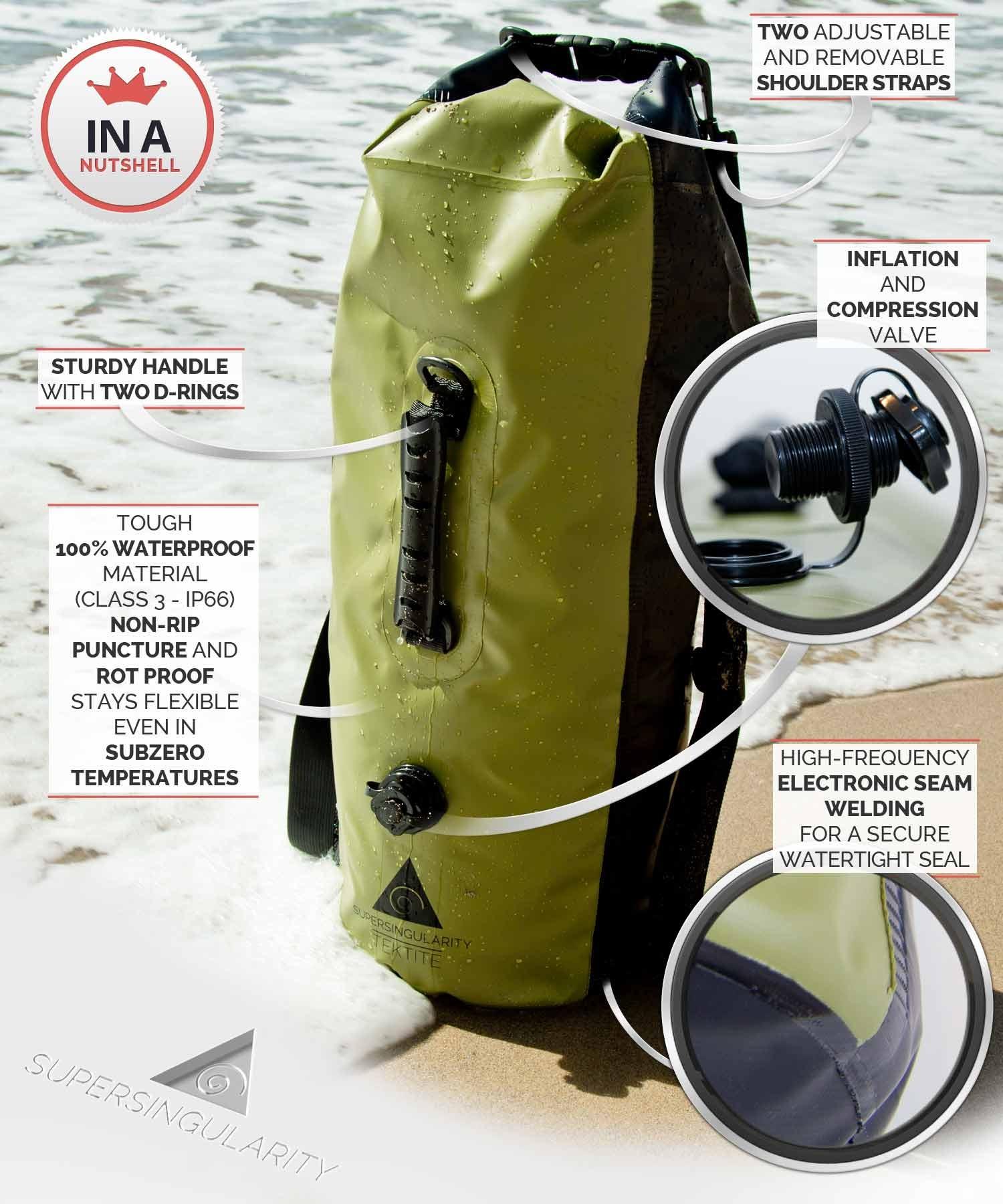 Supersingularity 30L Dry Bag Waterproof Backpack Gear Bag for Boating Kayaking Canoeing Rafting Surfing Fishing Hunting Camping Beach