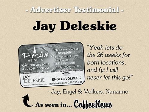 Jay Deleskie testimonial in Coffee News