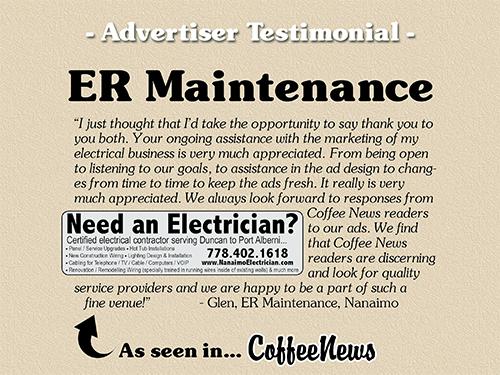 ER Maintenance testimonial in Coffee News