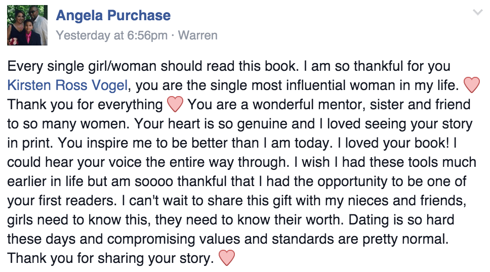 To Love and Be Cherished Book Testimonial Angela Purchase