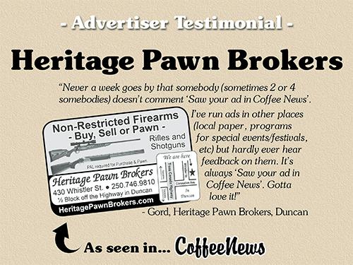 Heritage Pawn Brokers testimonial in Coffee News