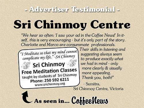 Sri Chinmoy Centre testimonial in Coffee News